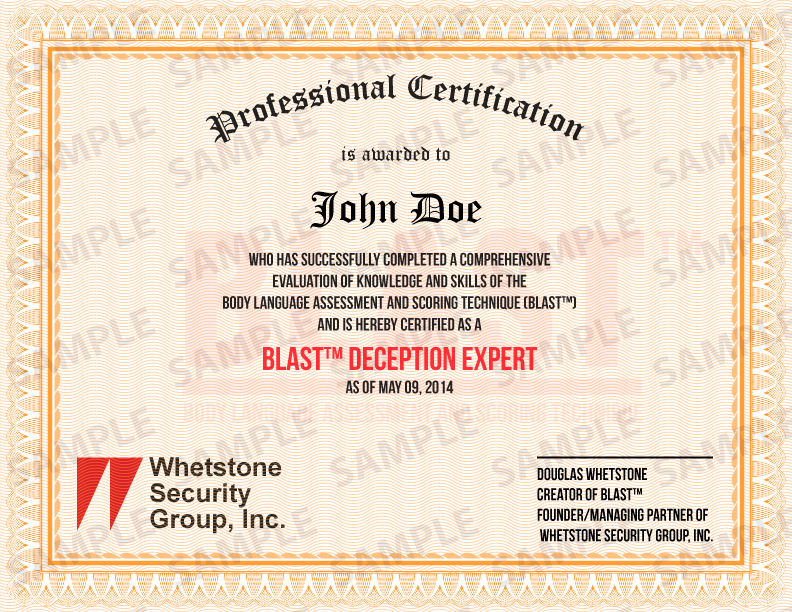 BLAST™ Certified Deception Detection Expert